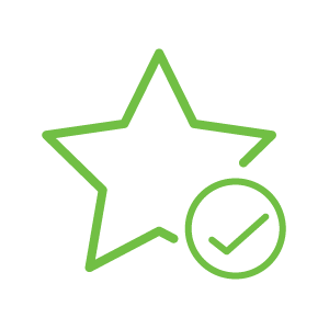 green star with tick